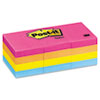 Post-it Notes 1-1/2 x 2, Neon Colors,12 100-Sheet Pads/Pack
