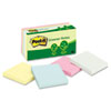 Post-it Greener Notes Recycled Pastel Notes, 3 x 3, Sunwashed Pier, 12 100-Sheet Pads/Pack