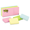 Post-it Notes Color Notes, 1-1/2 x 2, Pastel Colors, 12 100-Sheet Pads/Pack