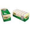 Post-it Greener Notes Recycled Notes, 3 x 3, Sunwashed Pier, 24 75-Sheet Pads/Pack