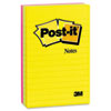 Post-it Notes Ultra Color Notes, 4 x 6, Lined, Three Colors, 3 100-Sheet Pads/Pack