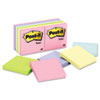 Post-it Notes Original Pads in Pastel Colors,3 x 3, Five Pastel Colors, 12 100-Sheet Pads/Pack