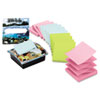 Clear Top Pop-up Note Dispenser w/12 3 x 3 Pastel Self-Stick Pads, Black