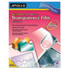 Apollo Inkjet Printer Transparency Film, Clear, 50/Box