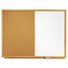 Combo Bulletin Board, Dry-Erase Melamine/Cork, 48 x 36, White, Oak Frame