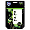 CZ073FN140 (HP 61) Ink Cartridge, Black, 190 Page-Yield, 2/Pk