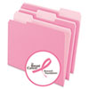 Two-Tone File Folders, 1/3 Cut Top Tab, Letter, Pink/Light Pink, 100/Box