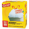 Drawstring Tall Kitchen Bags, 13 gallon, .95mil, 24 x 48, White, 100/Box