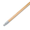 "Metal Tip Threaded Hardwood Broom Handle, 1"" Dia x 60in Long"