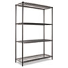 Wire Shelving Starter Kit, 4 Shelves, 48w x 18d x 72h, Black