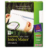 100% Recycled Index Maker Dividers, White 12-Tab, 11 x 8-1/2, 5 Sets/Pack