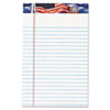 TOPS American Pride Writing Pad, Jr. Legal Rule, 5 x 8, White, 12 50-Sheet Pads/Pack