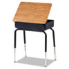 Lift-Lid Student Desk, 24w x 18d, Medium Oak, 2/Carton