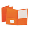 Twin-Pocket Folder, Embossed Leather Grain Paper, Orange