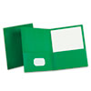 Twin-Pocket Portfolio, Embossed Leather Grain Paper, Hunter Green, 25/Box