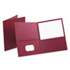 Twin-Pocket Portfolio, Embossed Leather Grain Paper, Burgundy, 25/Box