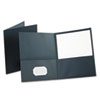 Oxford Twin-Pocket Portfolio, Embossed Leather Grain Paper, Dark Blue, 25/Box
