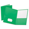 Twin-Pocket Portfolio, Embossed Leather Grain Paper, Light Green, 25/Box