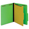 "40 Pt. Classification Folders, 2"" Fasteners, 2/5 Tab, Letter, Green, 10/BX"
