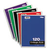 Wirebound 3-Subject Notebook, College Rule, 8-1/2 x 11, White, 120 Sheets/Pad