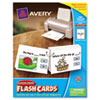 Avery Printable Flash Cards, Hole Punched, 4 1/4 x 8 1/2, White, 4 cards/sheet, 100/PK