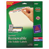 Removable Filing Labels for Inkjet/Laser, 2/3 x 3-7/16, Assorted, 750/Pack