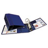 Heavy-Duty Vinyl EZD Reference Binder With Finger Hole, 5&quot; Capacity, Navy Blue