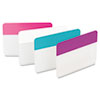 Post-it Tabs Durable File Tabs, 2 x 1 1/2, Aqua, Pink, Violet, White, 24/Pack
