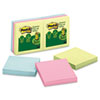 Post-it Greener Notes Recycled Pop-Up Notes Refill, 3 x 3, Sunwashed Pier, 6 100-Sheet Pads