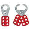 "Steel Lockout Hasps, Steel/Vinyl, 1 3/4"", Red"