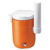 Rubbermaid Commercial Insulated Beverage Container with Cup Dispenser, 5gal, Orange/White