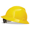 MSA V-Gard Hard Hats, Fas-Trac Ratchet Suspension, Size 6 1/2 - 8, Yellow