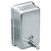 Vertical Soap Dispenser, 40oz, Stainless Steel, 4-7/8 x 2-11/16 x 8-3/16