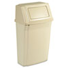 Slim Jim Wall-Mounted Container, Rectangular, Plastic, 15gal, Beige