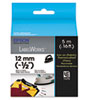"LabelWorks Iron-On Fabric LC Tape Cartridge, 1/2"", Black on White"