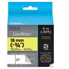 "LabelWorks Fluorescent LC Tape Cartridge, 3/4"", Black on Yellow"