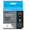 "LabelWorks Standard LC Tape Cartridge, 3/4"", Black on Matte Silver"