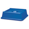 Rubbermaid Commercial Untouchable Bottle & Can Recycling Top, Square, 20 1/8 x 20 1/8 x 6 1/4, Blue