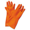 Flock-Lined Latex Cleaning Gloves, Medium, Orange