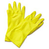 Flock-Lined Latex Cleaning Gloves, Extra-Large, Yellow