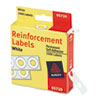 "Dispenser Pack Hole Reinforcements, 1/4"" Diameter, White, 1000/Pack"