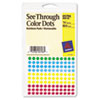 "See-Through Removable Color Dots, 1/4"" dia, Assorted Colors, 864/Pack"