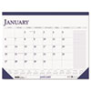 Two-Color Monthly Desk Pad Calendar w/Large Notes Section, 22 x 17, 2013