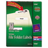 Permanent Self-Adhesive Laser/Inkjet File Folder Labels, White, 1500/Box