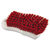 "Scrub Brush, Red Polypropylene Fill, 6"" Long, White Handle"