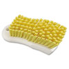 "Scrub Brush, Yellow Polypropylene Fill, 6"" Long, White Handle"
