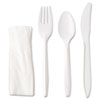 GEN Wrapped Cutlery Kit, Fork/Knife/Spoon/Napkin, White, 250/Carton