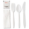 GEN Wrapped Cutlery Kit, Fork/Knife/Spoon/Napkin/Salt/Pepper, White, 250/Carton