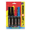 Marks-A-Lot Permanent Markers, Chisel Tip, Assorted, 4/Set