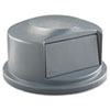Rubbermaid Commercial Round Brute Dome Top Receptacle, Push Door, 24 13/16 x 12 5/8, Gray